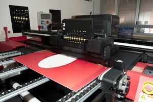 Commercial Sign Printing a red colored sign