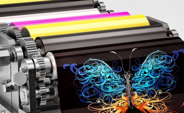 Offset Printing- Machine Showing an Abstract Butterfly Print