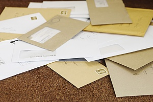 business envelopes provided to an organization through mailing services