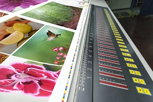 offset machine press print run on table at a commercial printing company