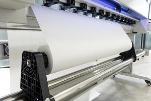 paper roll in large printer format inkjet machine