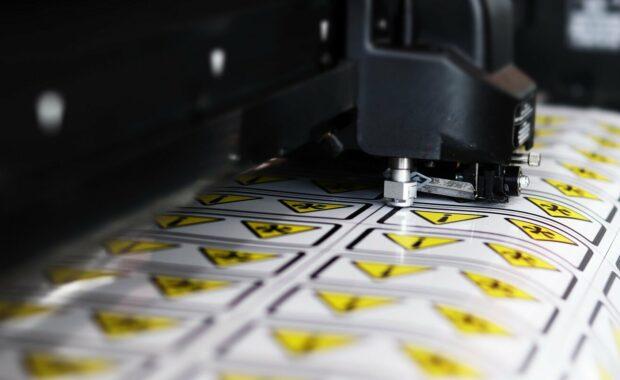 plotter cutting vinyl stickers warning manufacturing technology