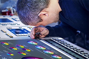 Man working at commercial sign printing